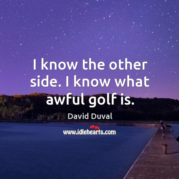 I know the other side. I know what awful golf is. David Duval Picture Quote