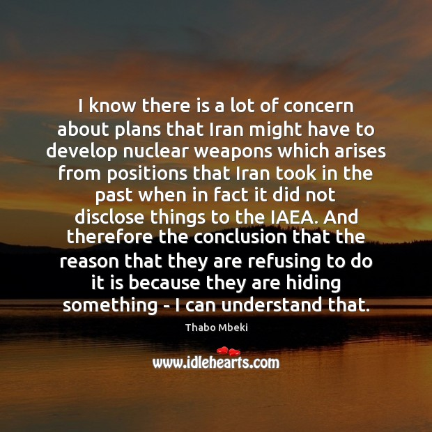 Thabo Mbeki Picture Quote image saying: I know there is a lot of concern about plans that Iran