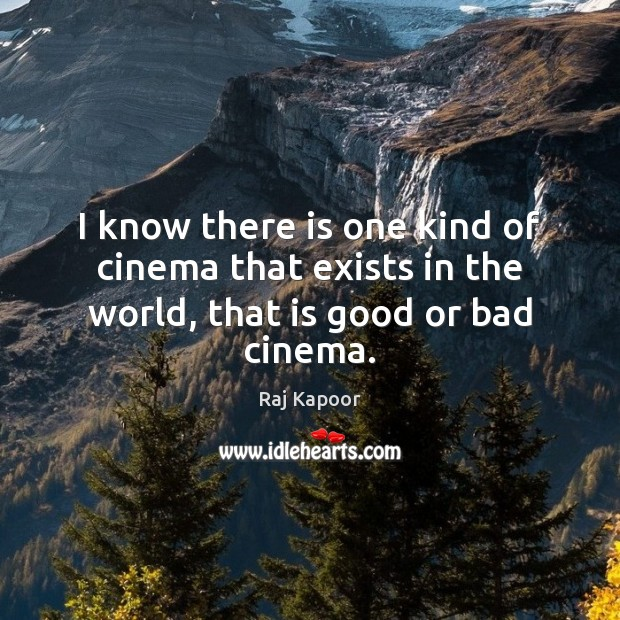 I know there is one kind of cinema that exists in the world, that is good or bad cinema. Image