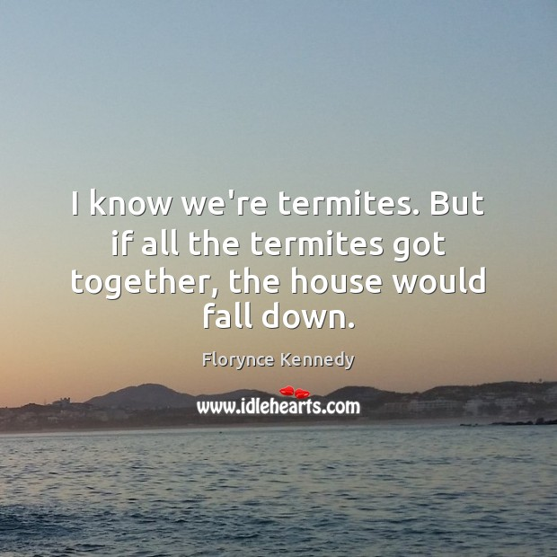 I know we're termites. But if all the termites got together, the house would fall down. Image