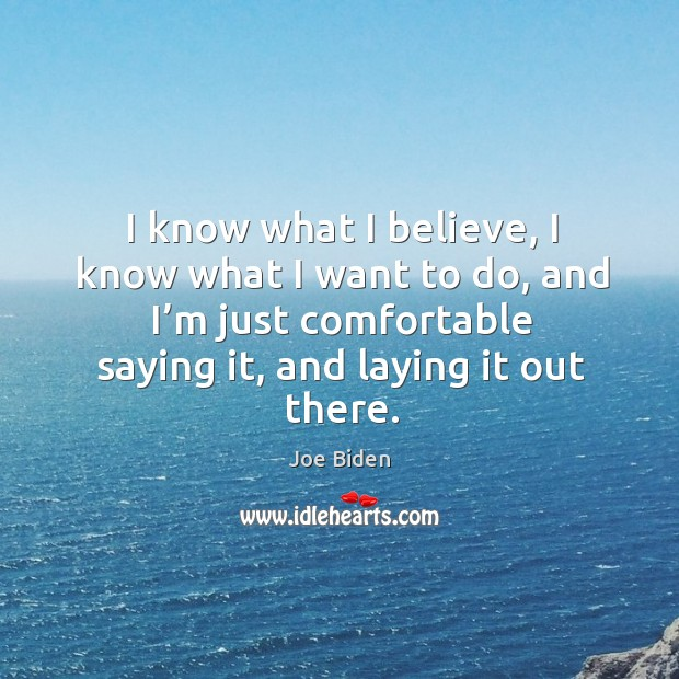 I know what I believe, I know what I want to do, and I'm just comfortable saying it, and laying it out there. Image