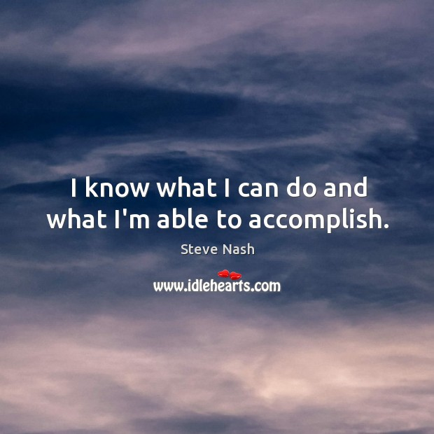 I know what I can do and what I'm able to accomplish. Image