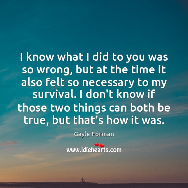 I know what I did to you was so wrong, but at Gayle Forman Picture Quote