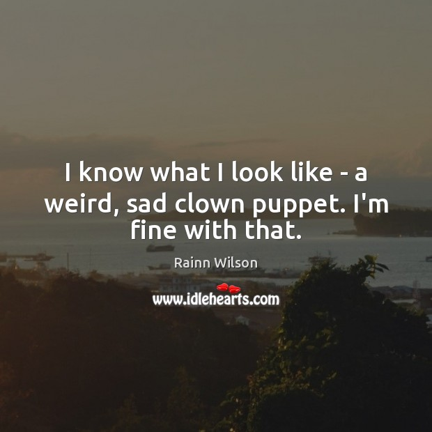 I know what I look like – a weird, sad clown puppet. I'm fine with that. Rainn Wilson Picture Quote