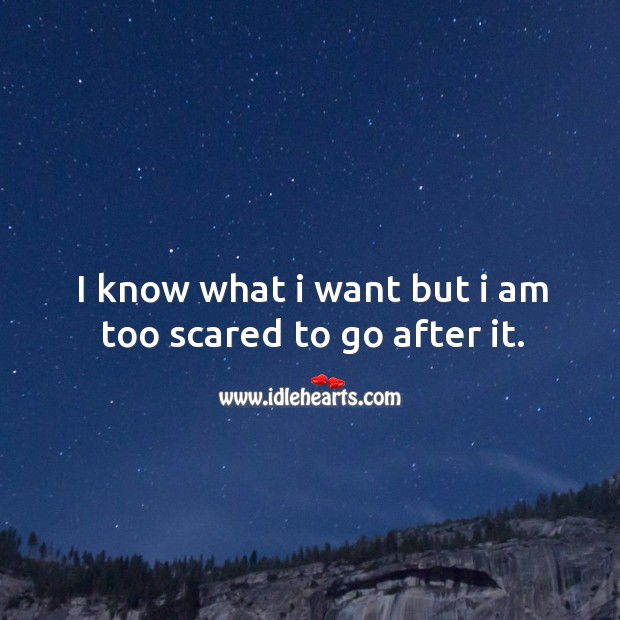 I know what I want but I am too scared to go after it. Image