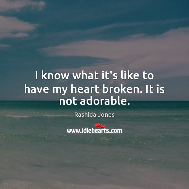 I know what it's like to have my heart broken. It is not adorable. Rashida Jones Picture Quote