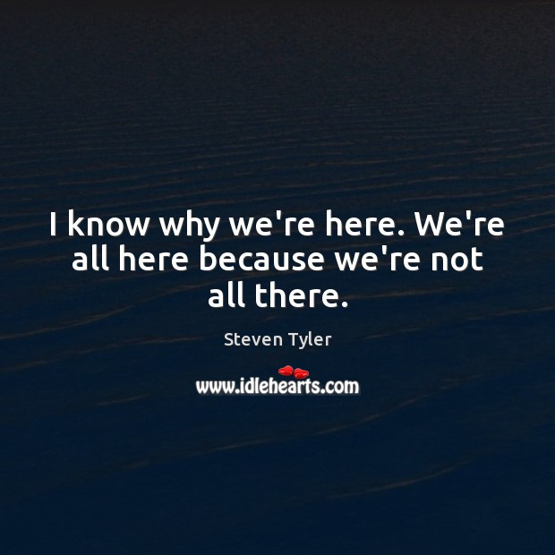 I know why we're here. We're all here because we're not all there. Steven Tyler Picture Quote
