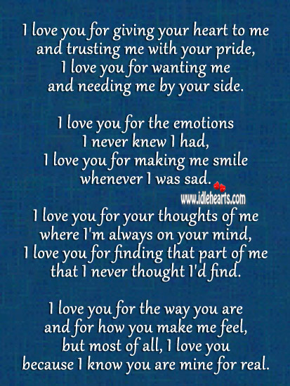 I Love You, I Know You Are Mine Forever.