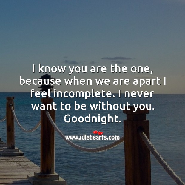 I know you are the one, because when we are apart I feel incomplete. Good Night Quotes for Love Image