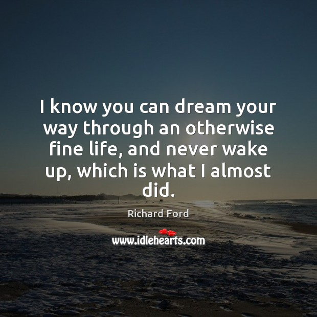 Image, I know you can dream your way through an otherwise fine life,