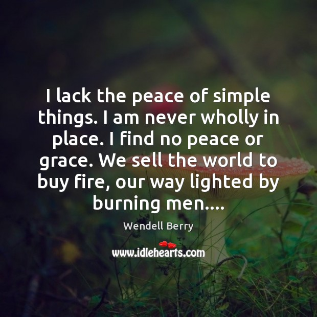 I lack the peace of simple things. I am never wholly in Wendell Berry Picture Quote