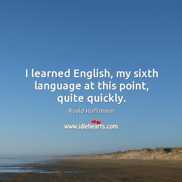 I learned english, my sixth language at this point, quite quickly. Image