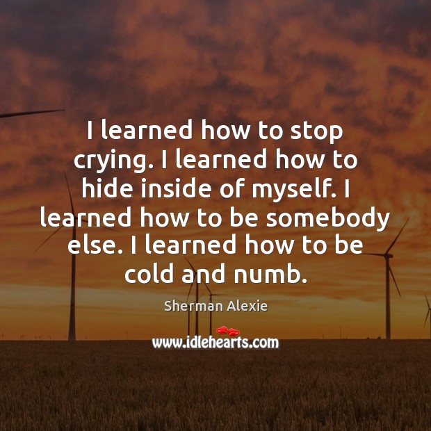 I learned how to stop crying. I learned how to hide inside Image