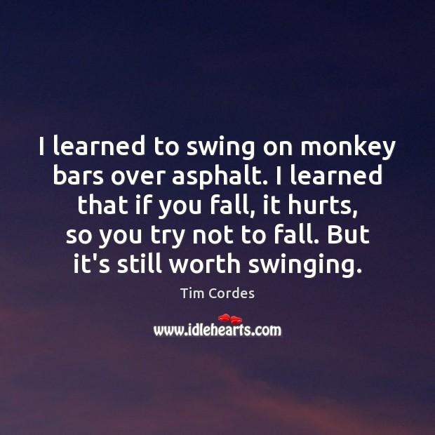 I learned to swing on monkey bars over asphalt. I learned that Image