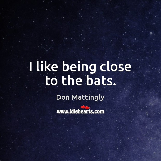 I like being close to the bats. Image