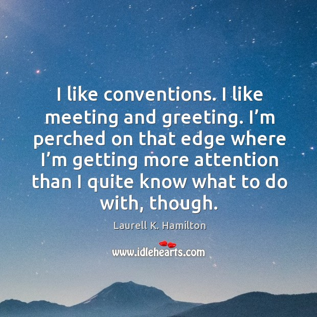 Image, I like conventions. I like meeting and greeting. I'm perched on that edge where