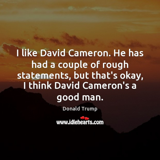 I like David Cameron. He has had a couple of rough statements, Men Quotes Image