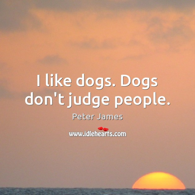 I like dogs. Dogs don't judge people. Don't Judge Quotes Image