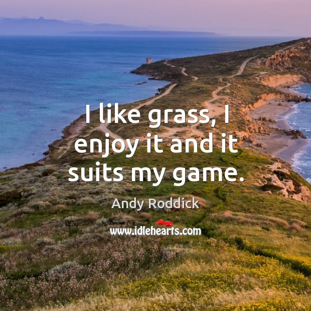 I like grass, I enjoy it and it suits my game. Andy Roddick Picture Quote