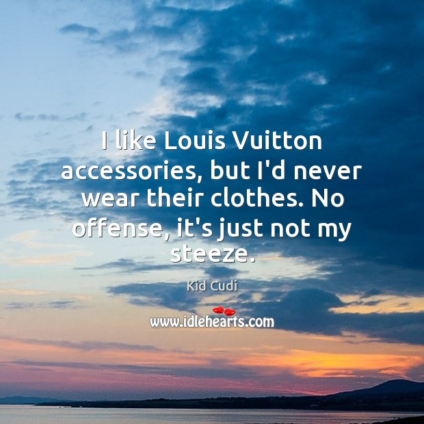 I like Louis Vuitton accessories, but I'd never wear their clothes. No Kid Cudi Picture Quote