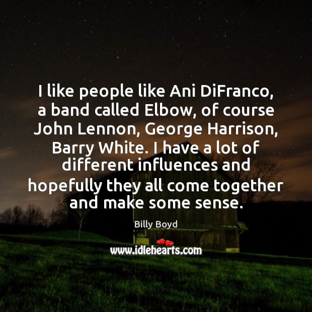 Image, I like people like Ani DiFranco, a band called Elbow, of course