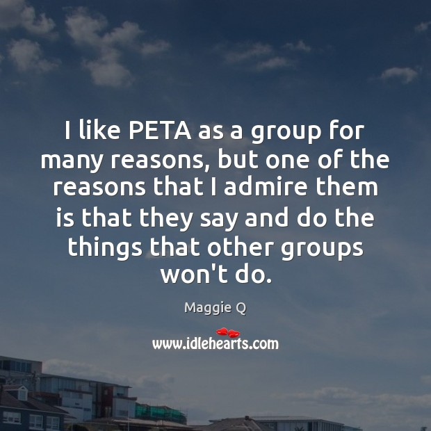 I like PETA as a group for many reasons, but one of Maggie Q Picture Quote