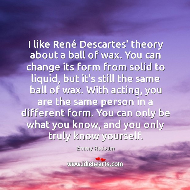 I like René Descartes' theory about a ball of wax. You can Emmy Rossum Picture Quote