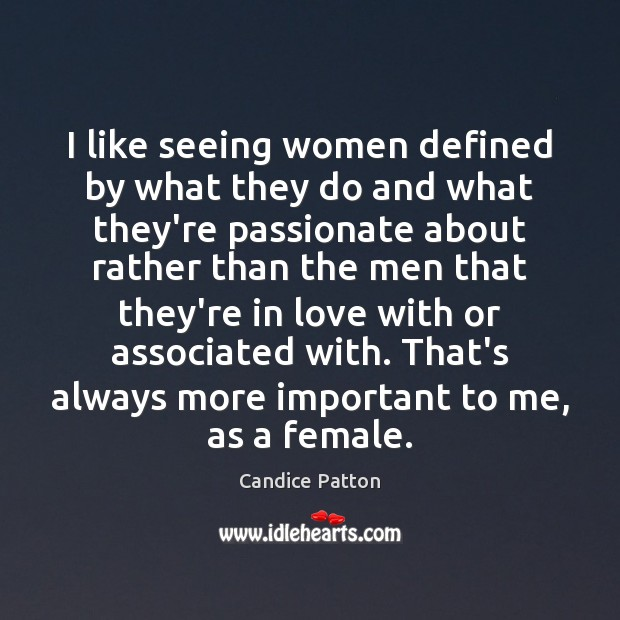 Image, I like seeing women defined by what they do and what they're