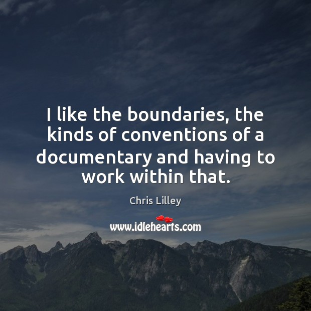 I like the boundaries, the kinds of conventions of a documentary and Chris Lilley Picture Quote