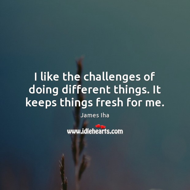 I like the challenges of doing different things. It keeps things fresh for me. James Iha Picture Quote