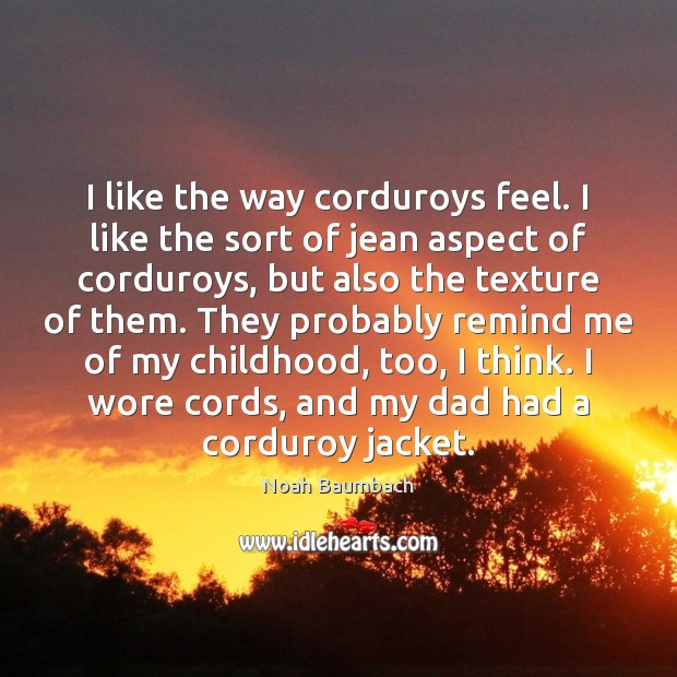 I like the way corduroys feel. I like the sort of jean Noah Baumbach Picture Quote