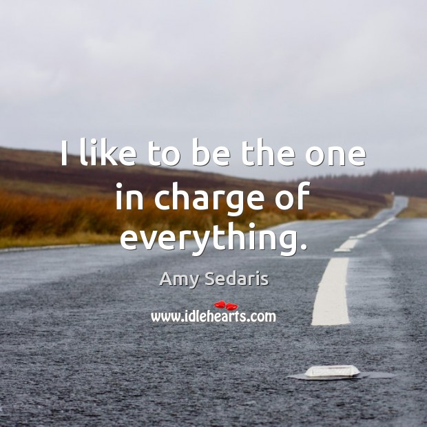 I like to be the one in charge of everything. Amy Sedaris Picture Quote
