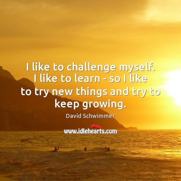 I like to challenge myself. I like to learn – so I David Schwimmer Picture Quote