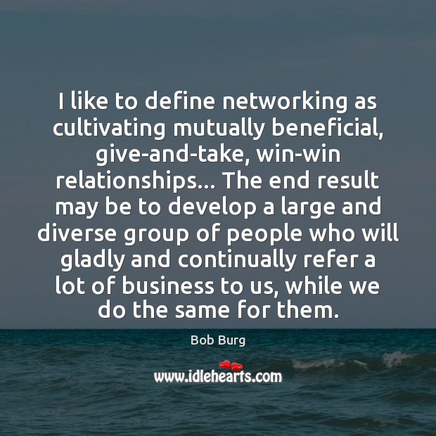 Image, I like to define networking as cultivating mutually beneficial, give-and-take, win-win relationships…