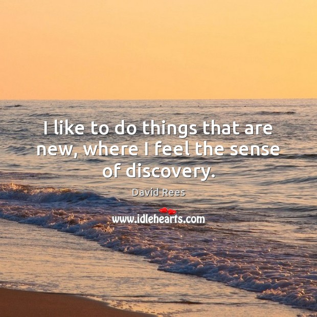 I like to do things that are new, where I feel the sense of discovery. David Rees Picture Quote