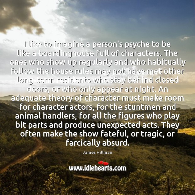 I like to imagine a person's psyche to be like a boardinghouse James Hillman Picture Quote