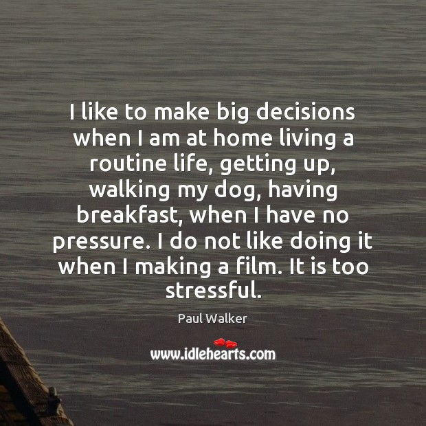 I like to make big decisions when I am at home living Paul Walker Picture Quote