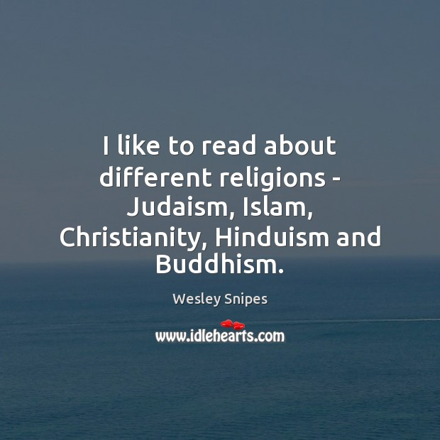 I like to read about different religions – Judaism, Islam, Christianity, Hinduism Wesley Snipes Picture Quote