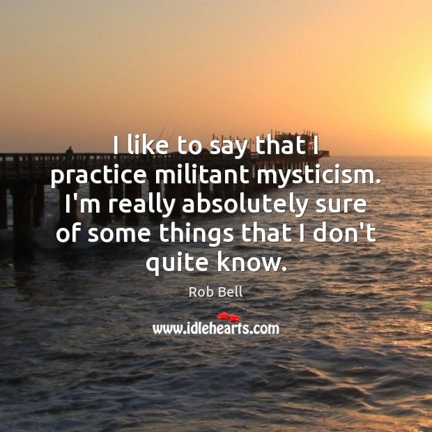 I like to say that I practice militant mysticism. I'm really absolutely Image