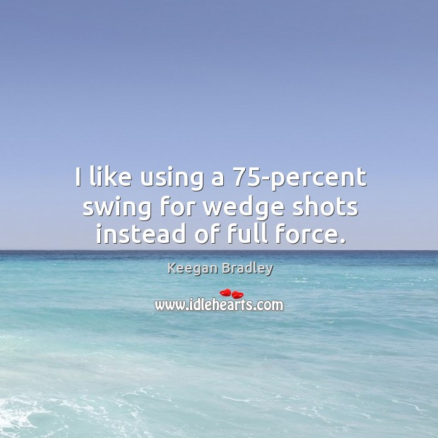 I like using a 75-percent swing for wedge shots instead of full force. Image