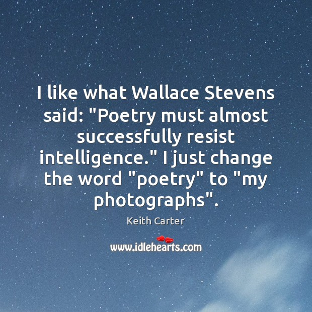 "I like what Wallace Stevens said: ""Poetry must almost successfully resist intelligence."" Image"