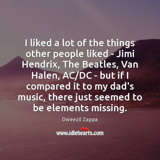 I liked a lot of the things other people liked – Jimi Dweezil Zappa Picture Quote