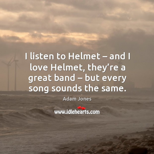 I listen to helmet – and I love helmet, they're a great band – but every song sounds the same. Image
