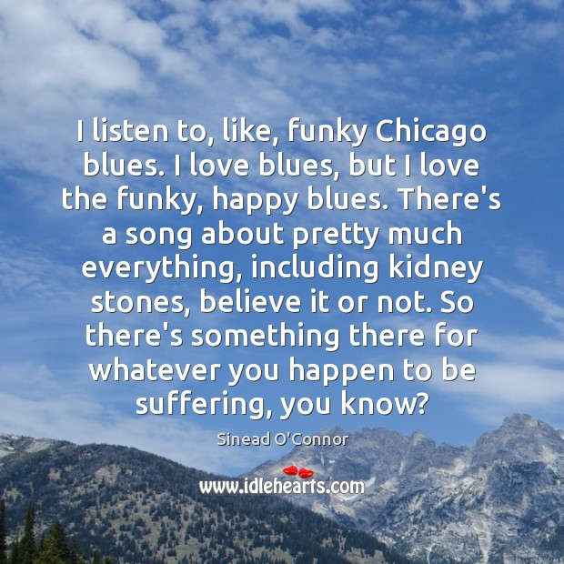 I listen to, like, funky Chicago blues. I love blues, but I Sinead O'Connor Picture Quote