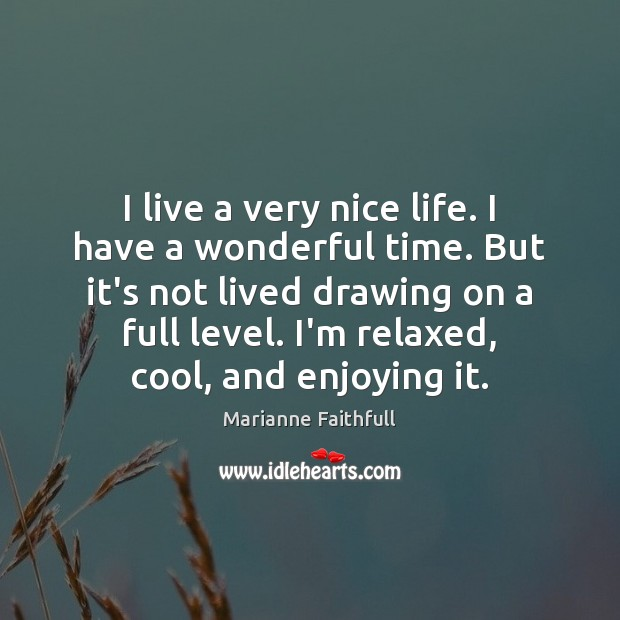 I live a very nice life. I have a wonderful time. But Marianne Faithfull Picture Quote