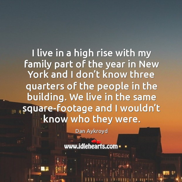 Image, I live in a high rise with my family part of the year in new york and I don't know three quarters