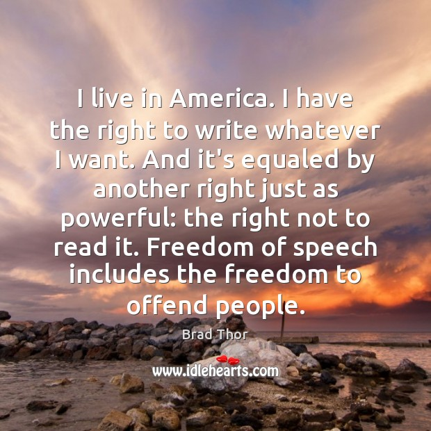 I live in America. I have the right to write whatever I Freedom of Speech Quotes Image