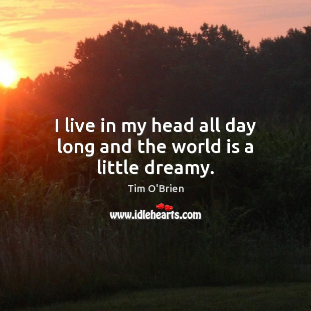 I live in my head all day long and the world is a little dreamy. Tim O'Brien Picture Quote