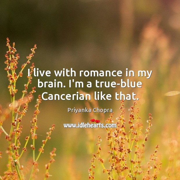 Image, I live with romance in my brain. I'm a true-blue Cancerian like that.