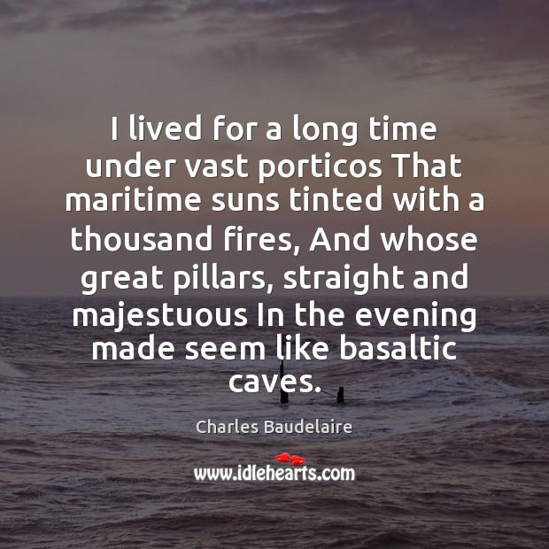 I lived for a long time under vast porticos That maritime suns Image